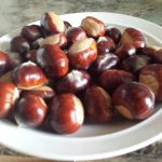 A plate full of sweet chestnuts