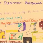 Peach poster with a drawing of an adventure playground and the message Keep Pitsmoor playground tidy! If we keep it tidy it will be more tidy and more fun. More people will come (new people)
