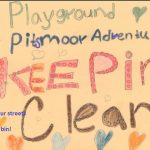 A poster of hearts that reads Playground Adventure Pitsmoor Keeping Clean
