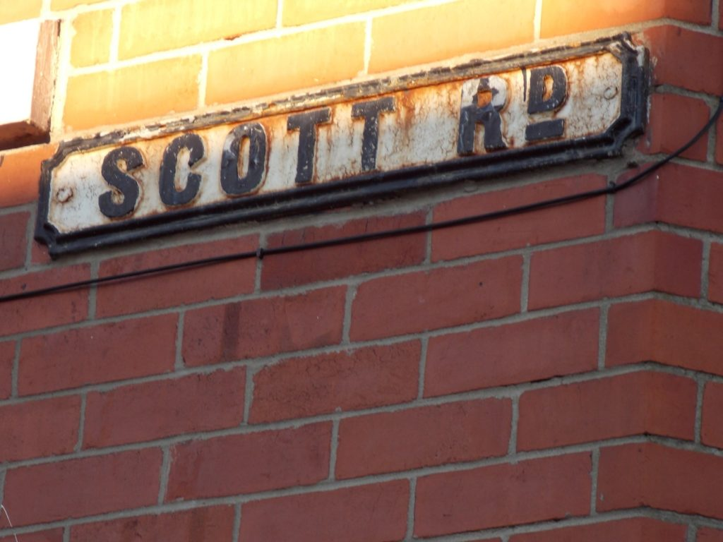 The street sign of Scott Road.