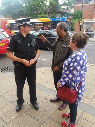 Sioned, Talib and policeman