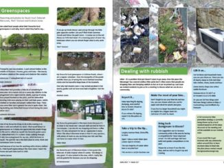 A spread with one half about greenspaces with photos of ducks on a pond, a park, bluebell woods and Ellesmere Green and a page opposite called Dealing with rubbish with photos of a broken tv, flytipped household waste and litter.