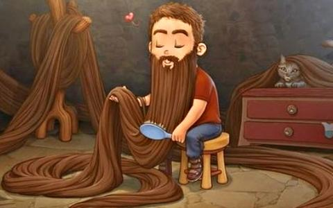 A cartoon of a man brushing a very long beard.
