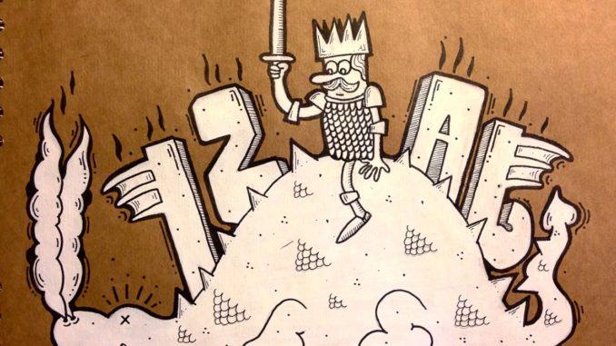 The word 'Izal' and a king on a slain dragon.