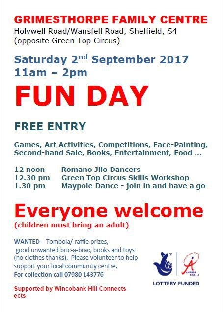 Poster for Grimesthorpe family fun day 2.9.2017