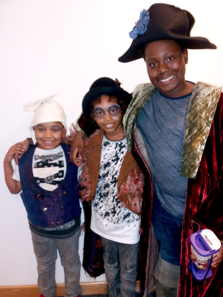 Three of the young actors in Shakespeare Showtime