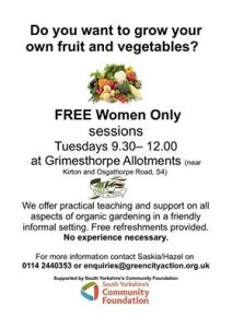 Poster for grimesthorpe allotments women's only yoga