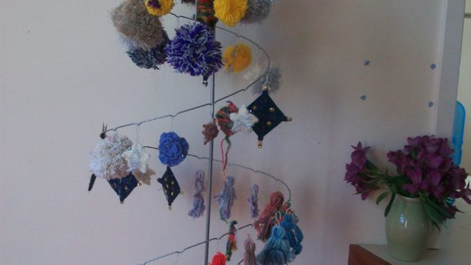 Knitted suns, moons, and stars
