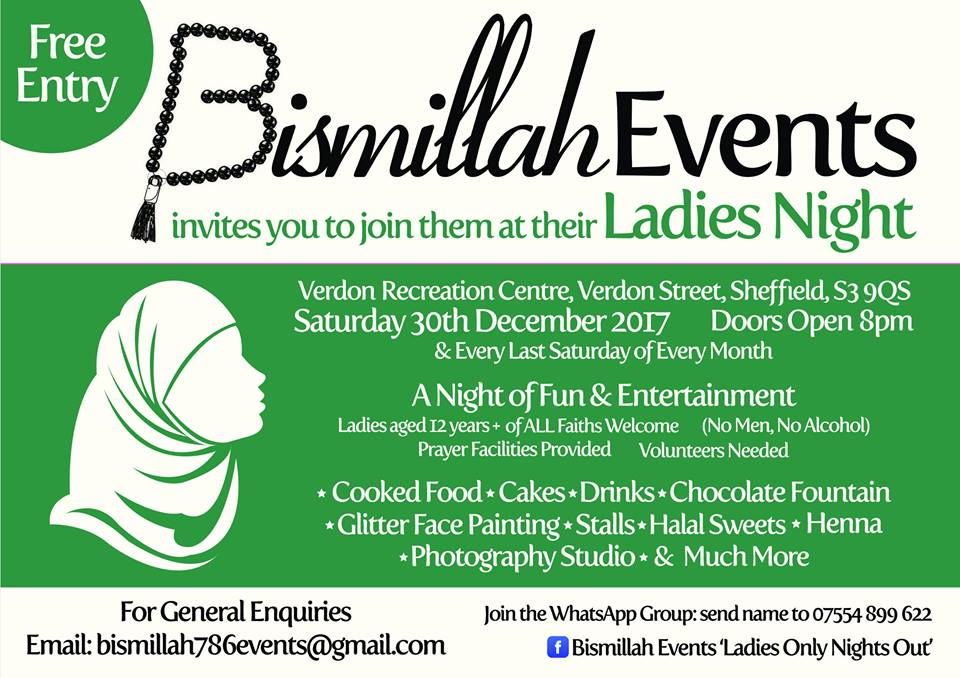 Bismillah ladies only night 30.12.18poster
