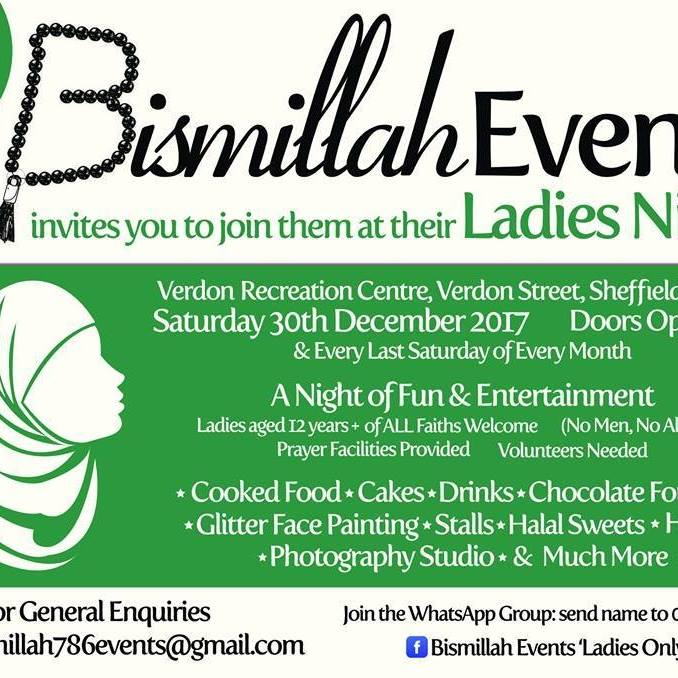 Poster for ladies only bsimillah event 30.12.17