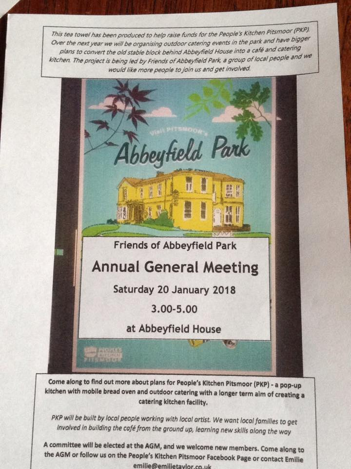 Tea towel advertising Abbeyfield Park AGM