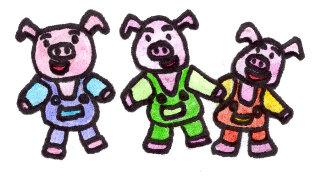 Three little pigs illustration