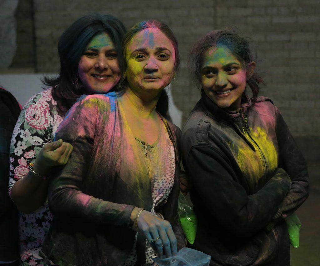 People dressed for Holi