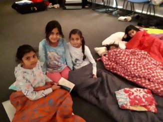 Children on a sleepover at Ice Sheffield