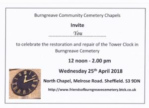 Celebration of the Restoration and repair of the Burngreave Cemetery clock @ Burngreave Cemetery Chapel