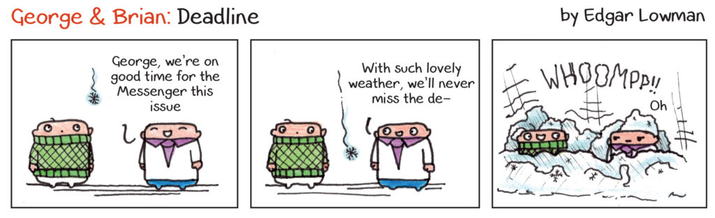 George and Brian: Deadline - Cartoon by Edgar Lowman