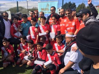 Aden Steelers celebrate their cup final win.
