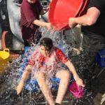 Water splashed on female