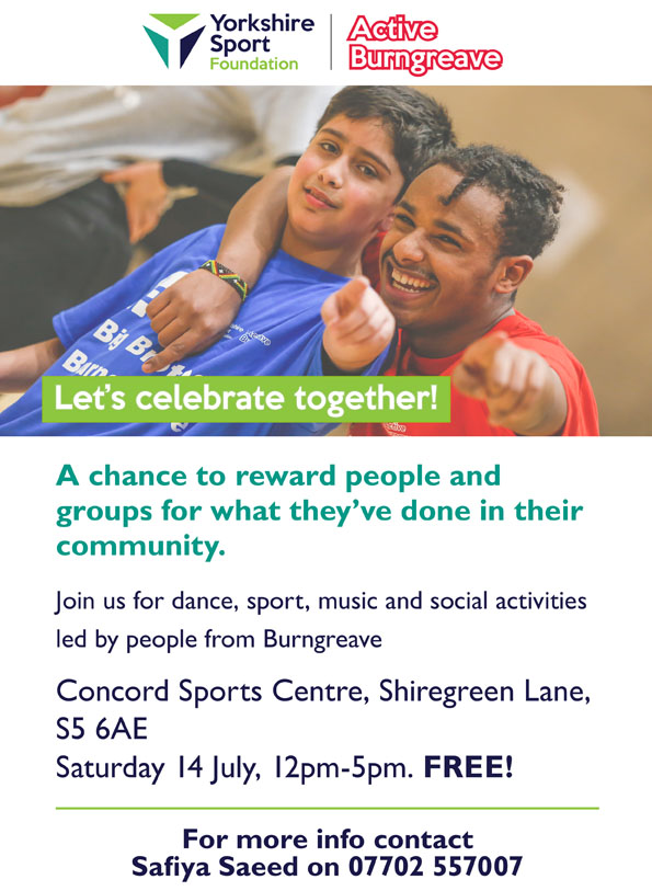 Active Burngreave Celebration Event flyer