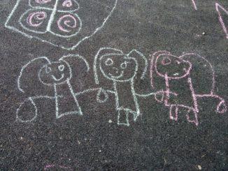 Pavement art in chalk
