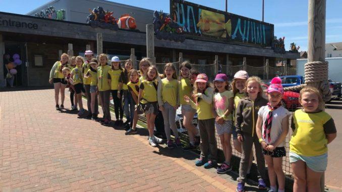St Catherine's Brownies Line up Outside Skegness Aquarium