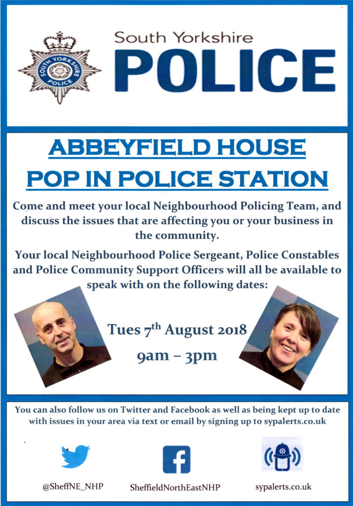 Abbeyfield House Pop In Police Station flyer