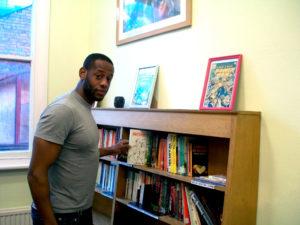 John Kamora at Basil Griffith library.