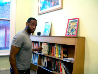 John Kamora at Basil Griffith library.