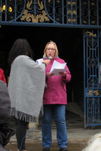 MP Gill Furniss outside the Town Hall to support the protest against the introduction of Universal Credit.