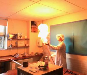 Teacher Ben Shore brought chemistry to life, as a mad scientist with a broken arm