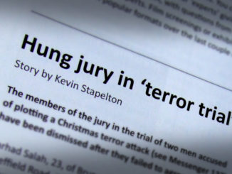 Hung jury in 'terror trial'.