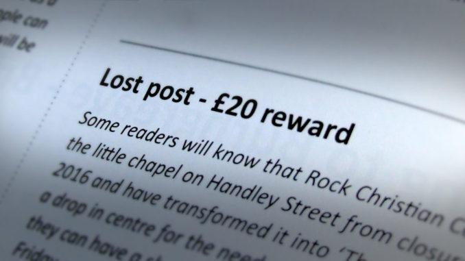 Lost post - £20 reward