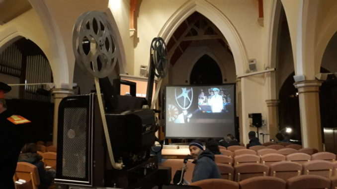 Projector and Screen in the Church