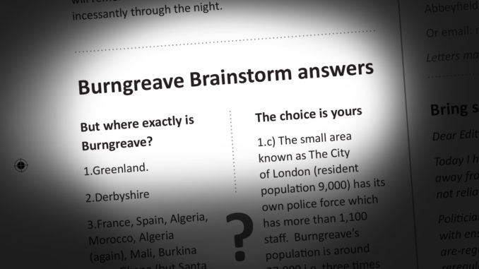Burngreave Brainstorm answers