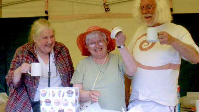 Betty Smalley with friends in the Tea Tent