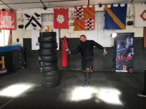 Eddie practising Knight Fight