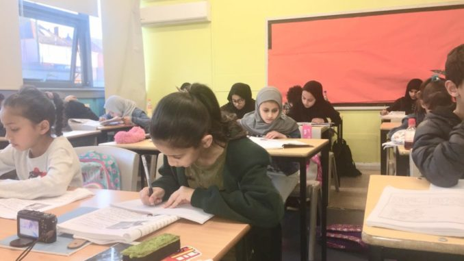 Arabic School pupils at their desks