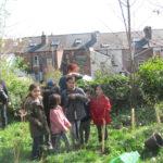Pitsmoor Adventure Playground children planting saplings