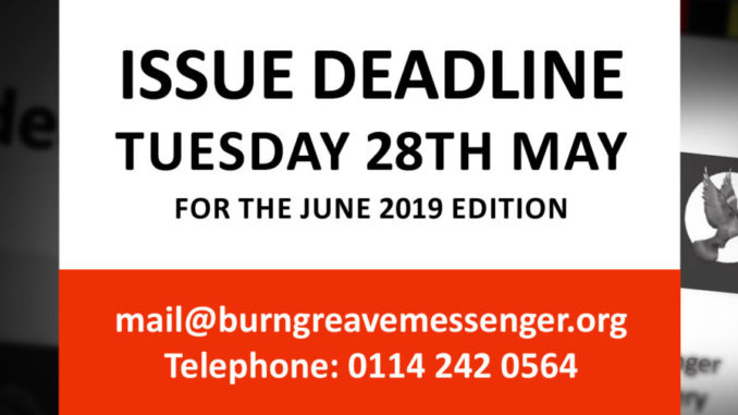 Copy deadline 28th May 2019