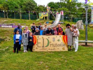 Children and families at Pitsmoor Adventure Playground