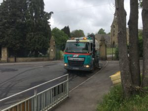 Road Sweeper outside Adventure Playground