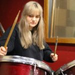 Estelle on the drums drums