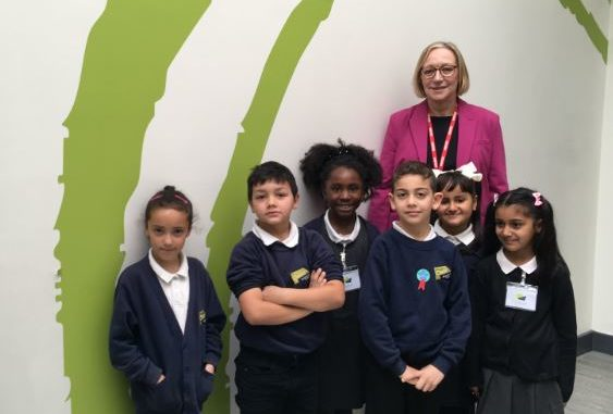 Oasis Academy pupils with MP Gill Furniss