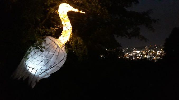 Heron lantern overlooking the city. Photo by Jackie Jones.