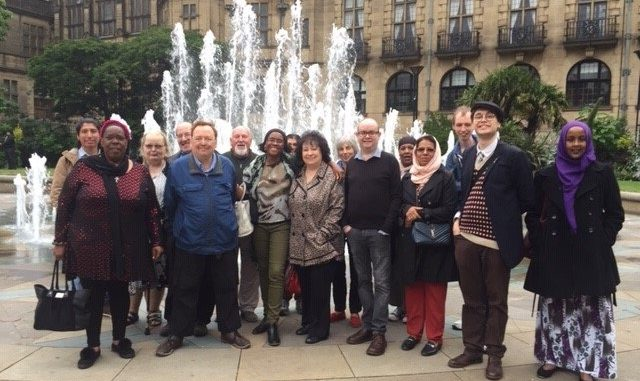 Library volunteers meet at Sheffield Peace Gardens