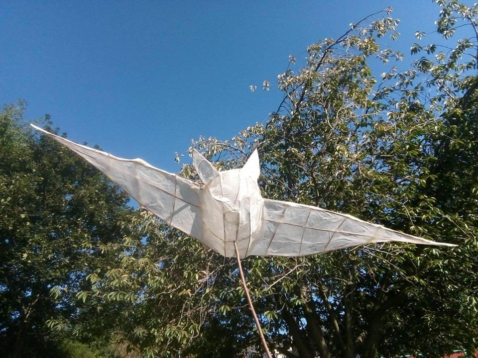 White tissue paper bat lantern.