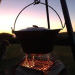 Pot of gulas over a fire