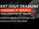 March 2020 issue deadline - 3rd March
