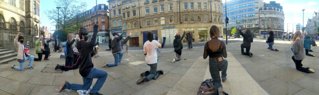 Taking the Knee in Sheffield city centre.