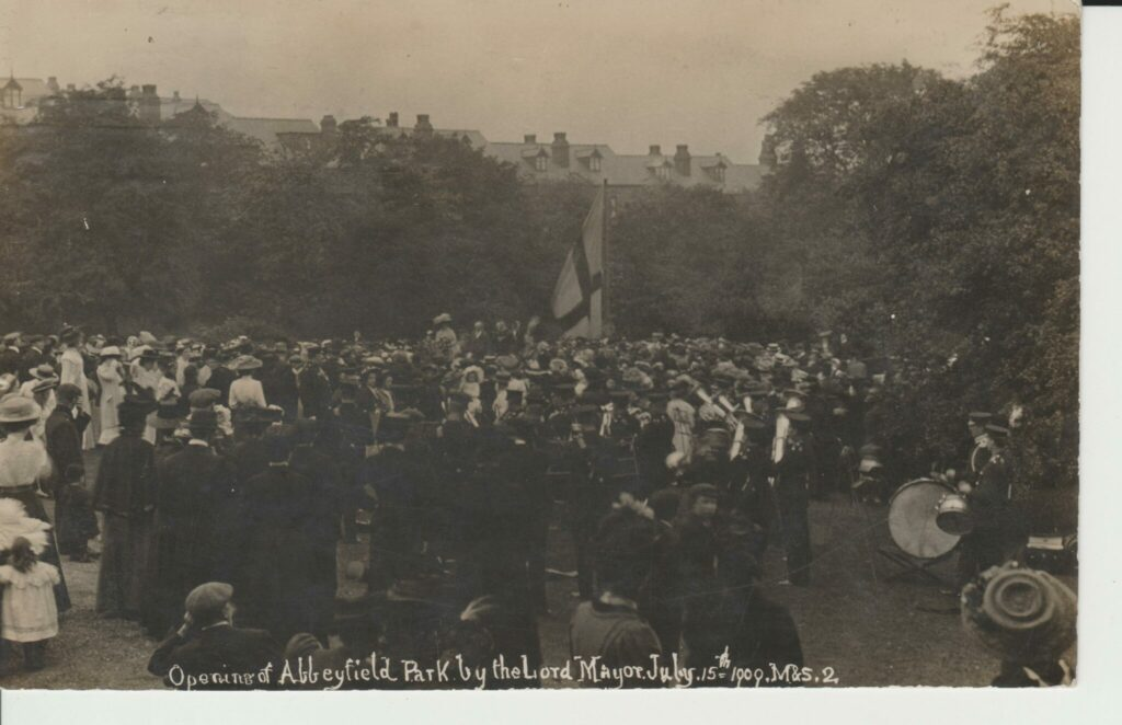 Opening of Abbeyfield Park by the Lord Mayor, 15th July 1909. From a vintage postcard courtesy of James Woollen.